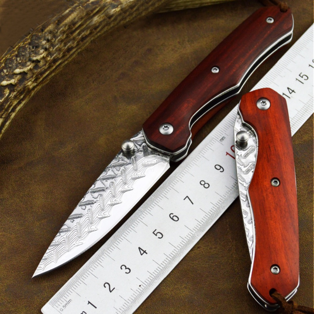 New Damascus steel laminated steel folding knife sharp knife with high hardness tool to travel Outdoor camping tool knife цена