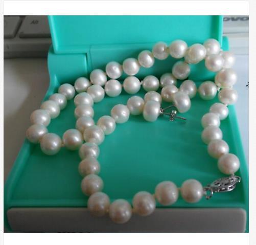 Lot de 9-10mm mer du sud rond blanc perle necklace18 & boucle doreille 925 argentLot de 9-10mm mer du sud rond blanc perle necklace18 & boucle doreille 925 argent