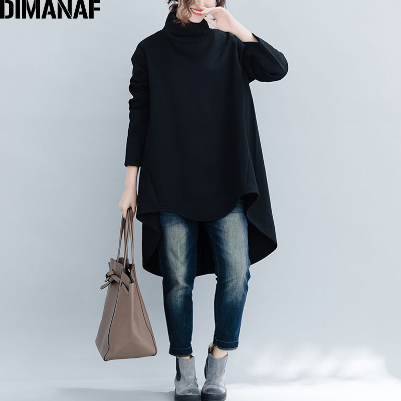 DIMANAF Plus Size Women Pullover Winter Warm Hoodies Sweatshirts Cotton Knitted Thicken Top Female Turtleneck Loose Clothes 2018 1