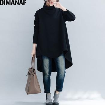 DIMANAF Plus Size Women Pullover Winter Warm Hoodies Sweatshirts Cotton Knitted Thicken Top Female Turtleneck