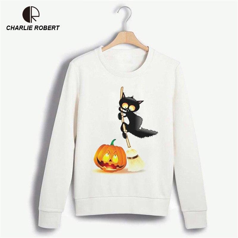 CR 2017 New Womens Halloween Hoodies Plus Size O-neck Kawaii Sweatshirt Print Cute Cat Harajuku Tops WH413