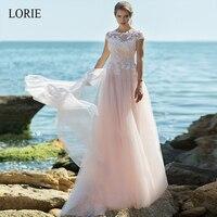 LORIE Wedding Dresses 2019 Short Sleeve Appliques & Tulle A Line Bride Dress Illusion Wedding Gown Pink Bride Vestido De Noiva