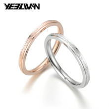 Fashion Rose Gold Couple Rings Cool Matte Rings For Women Men 2MM Stainless Steel Classic Engagement Wedding Bands tailor made luxury western rose gold color inlay health surgical stainless steel wedding bands rings sets