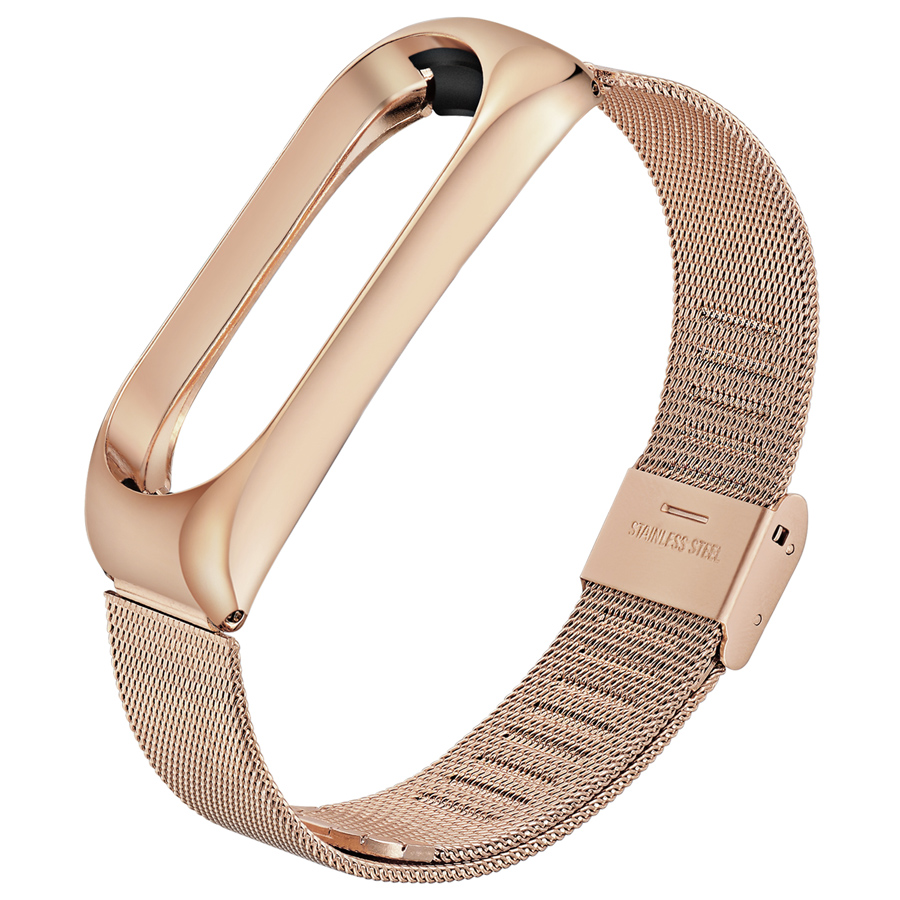 For Mi Band 3 Bracelet For Xiaomi Mi Band 3 Metal Wrist Strap Stainless Steel Bracelet Wristband For MiBand 3 Strap Rose Gold