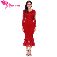 Dear Lover Lace Dresses Women Party Winter Elegant Red Hollow Out Long Sleeve Ruffle Bodycon Midi