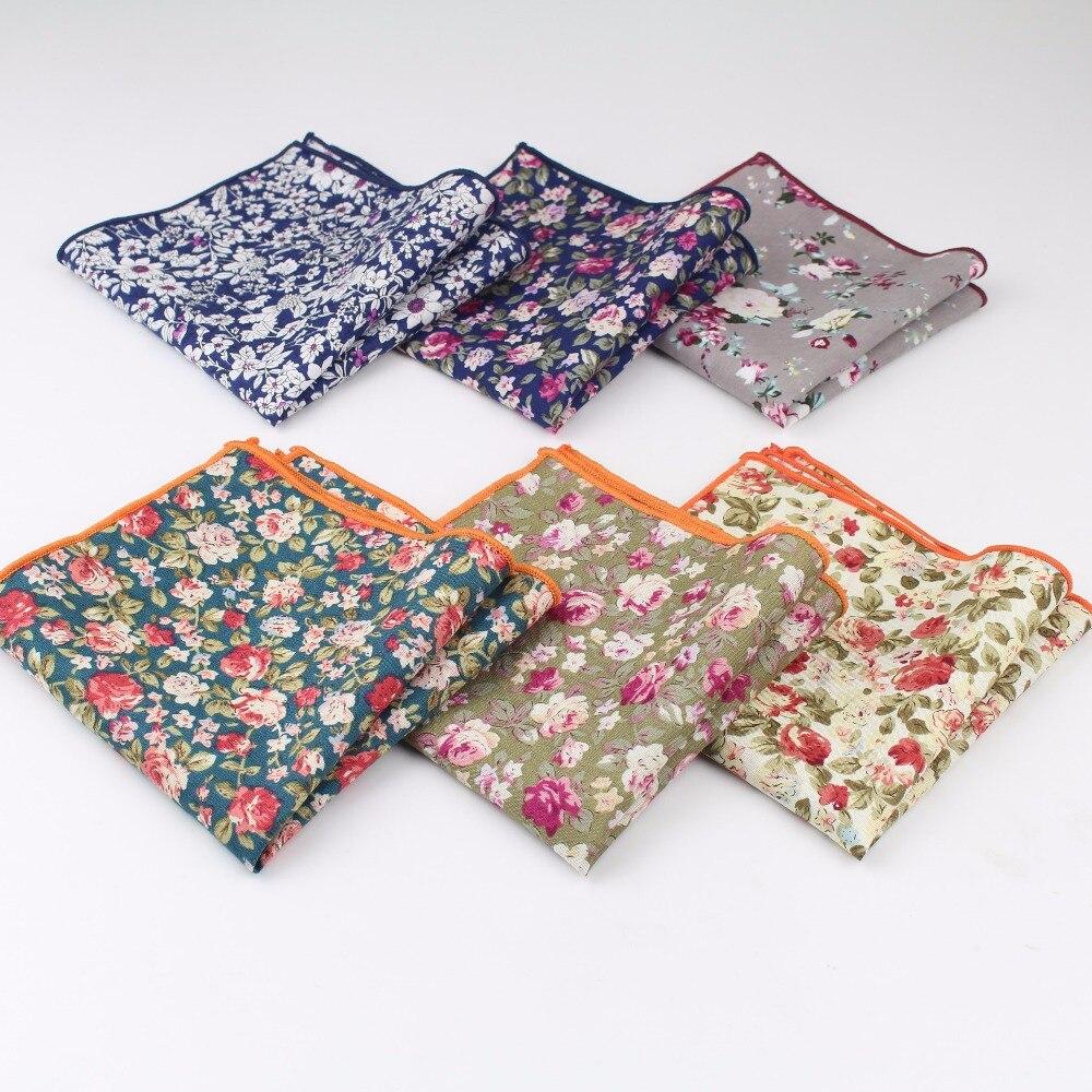 New Style Hankerchief Scarves Vintage Cotton Hankies Men's Pocket Square Handkerchiefs Rose Flower Paisley