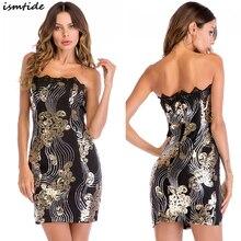 Strapless Dress Women Sexy Sleeveless Sequin Black Golden Flower Elegant Off Shoulder Mini Dresses 2XL