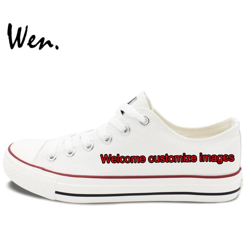 Lona Aceitar Negociar Design Sapatos A Imagens Pintadas Baixos Wen Top Complexidade Branco Mão Bem De Personalizado vindo Sapatas Acordo Personalizar Com SqW18Z