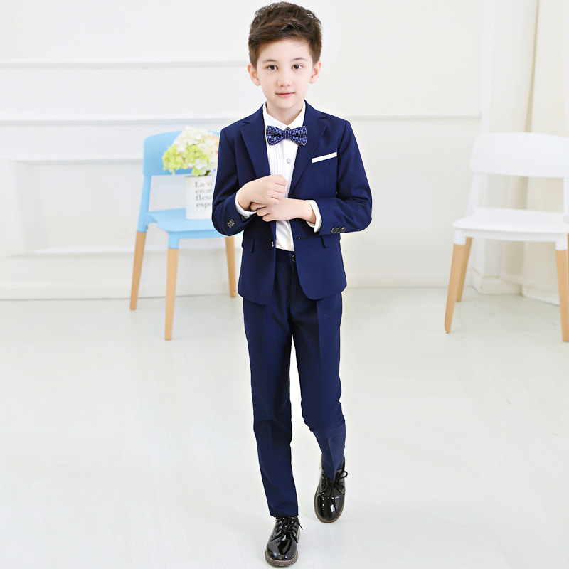 Boys Blazers Suit Kids Boy Suits for Weddings Jacket+Blouse+Tie+Pants 4 pieces/set Children Costume Garcon Marriage Clothes B081 blue boys blazer suit children vest tie blouse pants 4 pieces blazer sets for wedding autumn outwear toddler boy blazers da705
