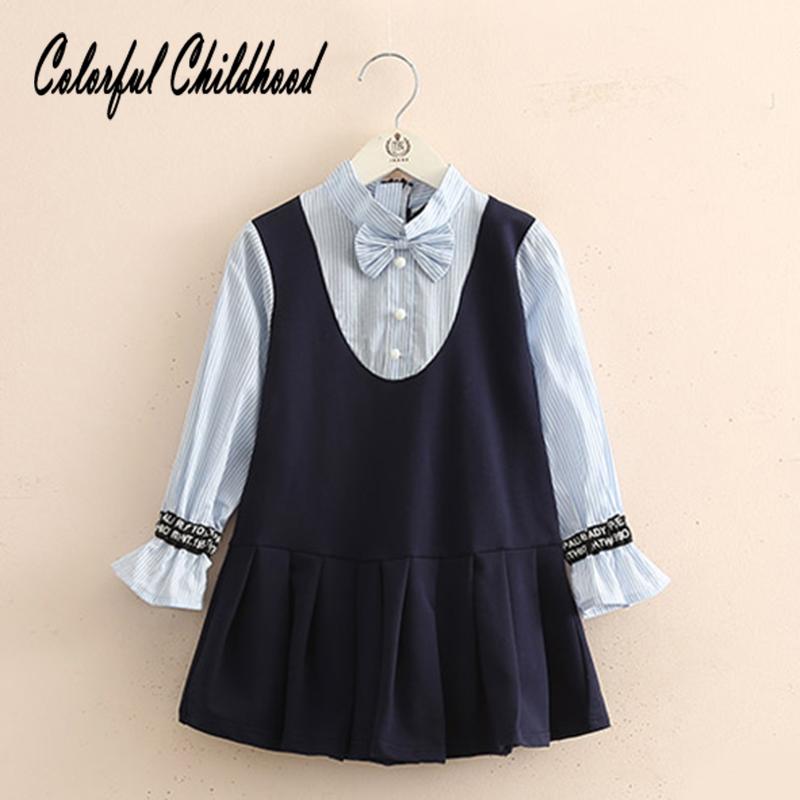 2fccf817a1cb8 طفل الفتيات كاذبة قطعتين مطوي Bowknot اللباس الرضع القرن كم اللباس بيبي  Vestidos طفل كيد الخريف نمط جديد اللباس