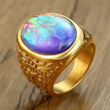 ZORCVENS Stylish Mens Opal Ring Bright Colorful Solitaire Oval Stone Male Jewelry Stainless Steel Anel Alliance Accessory(China)