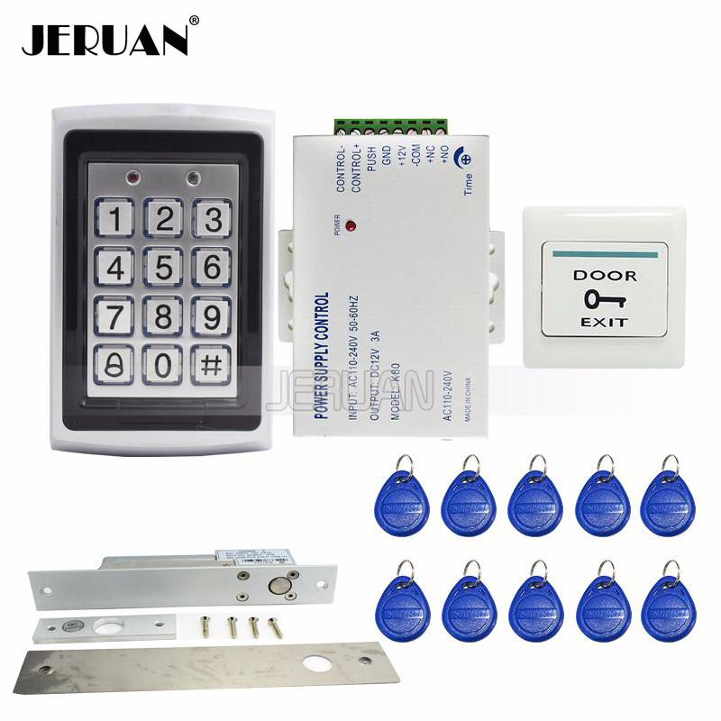 FREE SHIPPING New RFID Keypad Metal RFID Door Access Control System + Electric Door Drop Bolt Lock + Power Wholesale mileview rfid code keypad door access control system kit set electric drop bolt door lock in stock free shipping