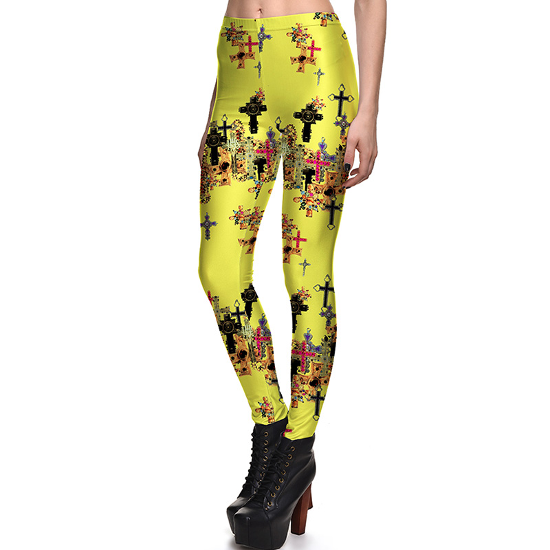 New 3842 Sexy Girl GYM Slim Leggings Vintage Yellow Crystal Cross Printed Running Fitness Sport Women Yoga Pants Plus Size