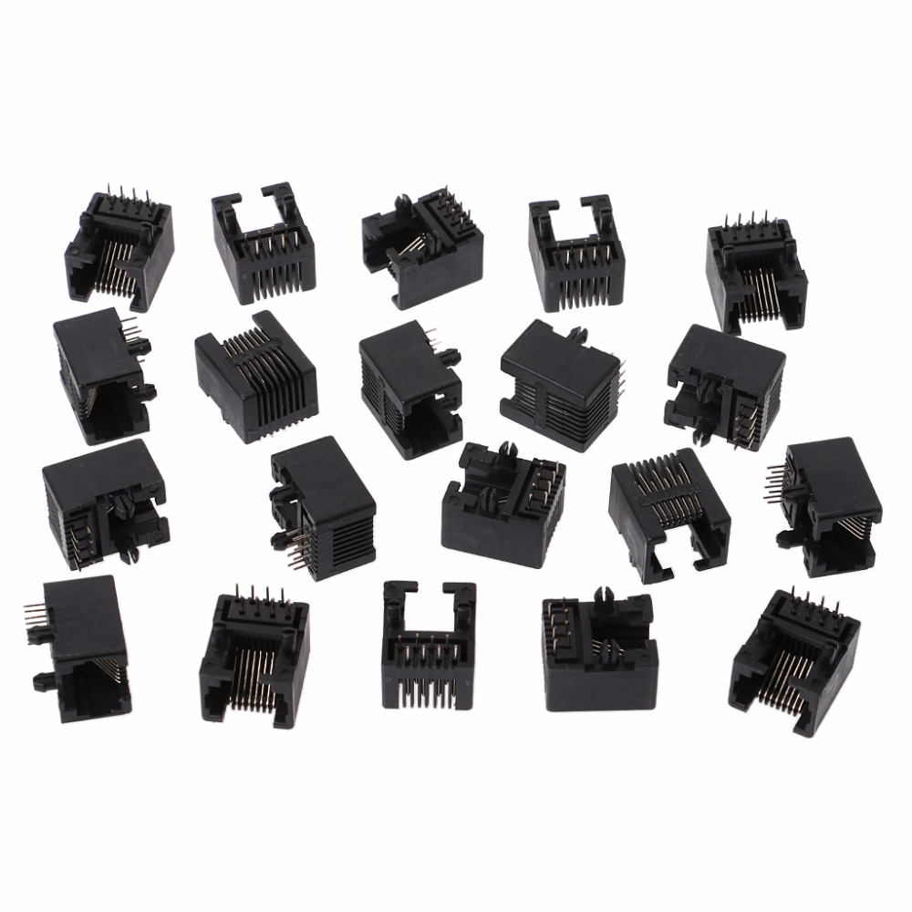 20Pcs Black RJ45 8P8C Jack Module Pcb Mount Network Internet Connector p