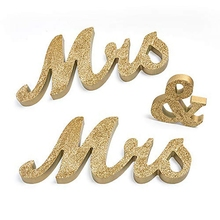 MR/MRS Wedding Decoration Wooden Letter Ornaments for Gay Lace Golden Art Craft Wedding Home Decor English Alphabet Ornaments(China)