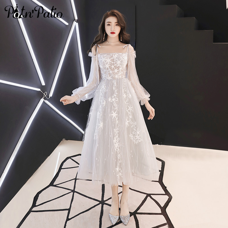 Elegant Boat Neck Long Sleeve   Prom     Dresses   2019 Sexy Off The Shoulder Star Lace Tulle Tea-Length Homecoming   Dresses