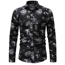 Mens Dress Shirts Casual Long Sleeve Floral Shirt Men Slim Fit Flower Blouse