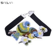 New Fashion Chinese Wind Hand Embroidery National Wind Two Bird Manual Embroidery Retro Couple Bird Choker Necklace For Women