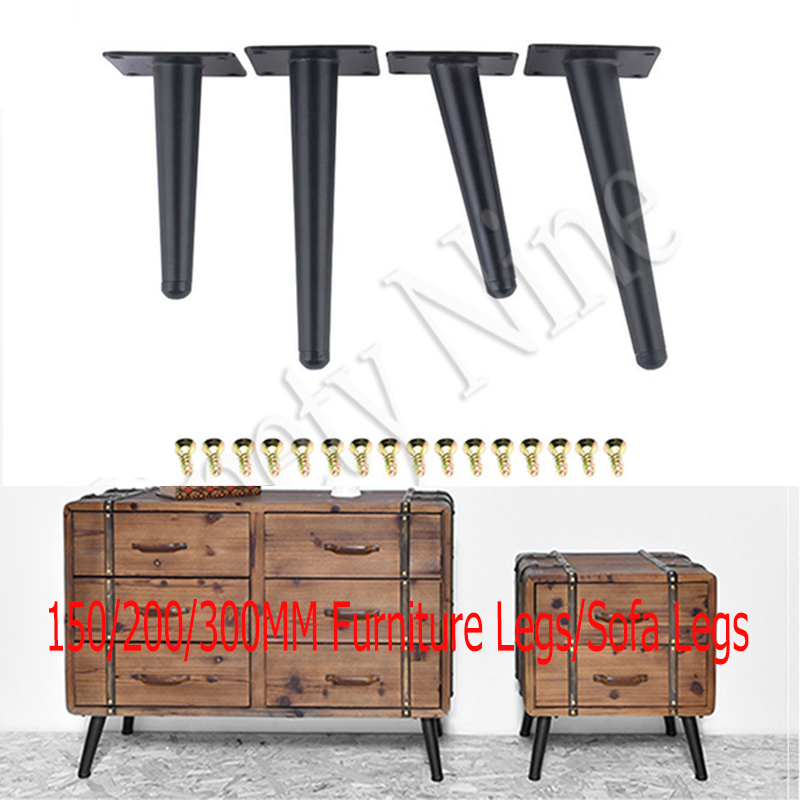 4Pcs Black 15/20/25/30cm Furniture Legs Replacement Sofa Legs For Couch Feet Chest Of Drawers Cabinet DIY Furniture Projectt