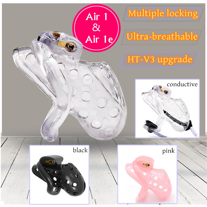 Electric shock Venting Hole Design Male Chastity Device Penis Belt Lock With 4 Cock Ring Electro Shock Adult Sex Toys For MenElectric shock Venting Hole Design Male Chastity Device Penis Belt Lock With 4 Cock Ring Electro Shock Adult Sex Toys For Men