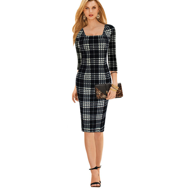 Women s Elegant Square Neck Tunic Sleeveless Wear to Work Business Office  Career Bodycon Stretch Fitted Dress 670030517570