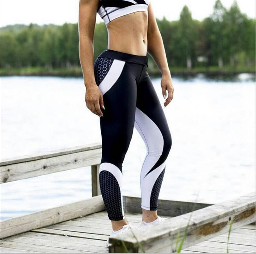 New Arrival Pattern Leggings Women Printed Pants Working Out Sporting Slim White Black Trousers Fitness Leggins