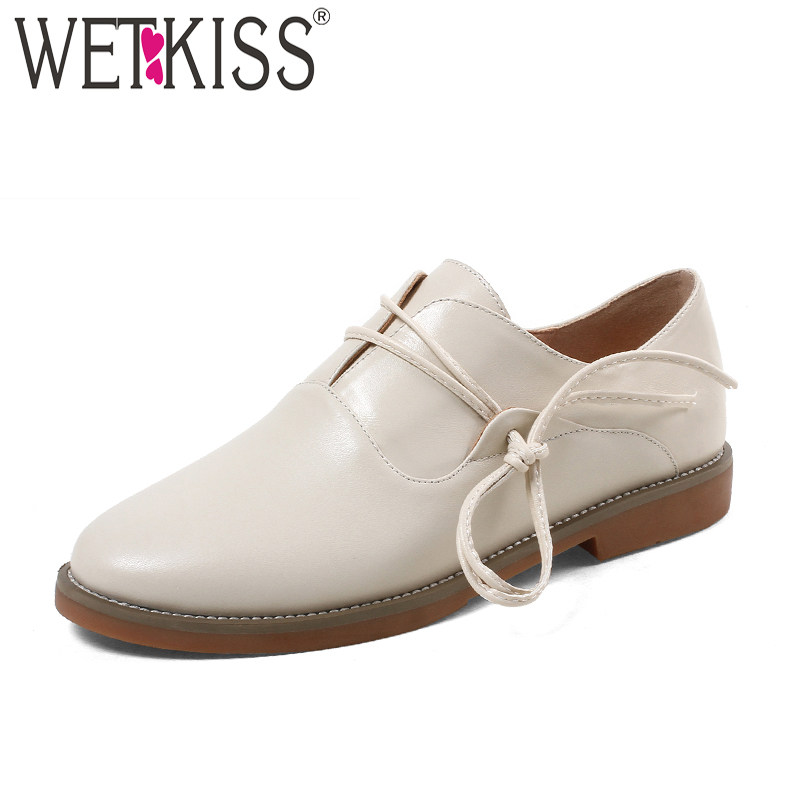 WETKISS New Thick Heels Women Flats Cow Leather Round Toe Shoes Flat Sole Shoes Lace Up Footwear New Fashion Casual Girl Shoes wetkiss new women flats platform shoes women flat lace up round toe footwear spring fashion casual ladies shoes big size 34 42
