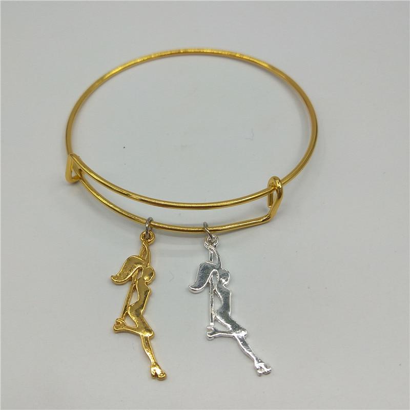 Trendy Pole Dancer Key Bangles Strip Dancer Silhouette Gift for Bachelorette Party Women Bangles Figure Jewellery