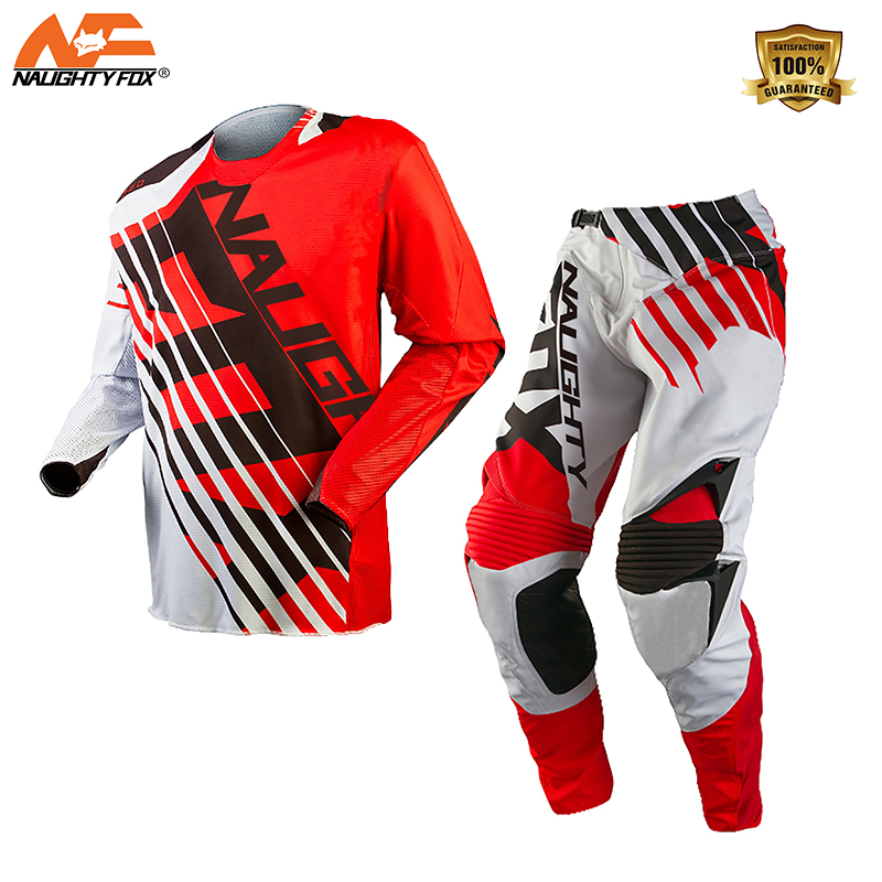 NAUGHTY Fox 2018 MX 360 SAVANT RED / WHITE Jersey Pants Combo Motocross Suit Dirt Bike Off-road MX Race Gear Set