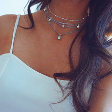 2019 New Bohemian Multilayer Crystal Stars Moon Necklace Womens Vintage Layered Gold Collar Fashion Jewelry Party Gift