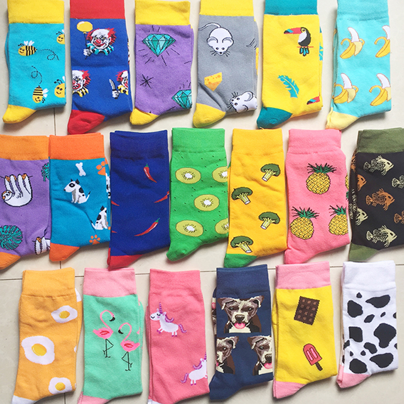 Street new pineapple pepper banana fruit and vegetable flamingo horse cotton   socks   tide   socks   color fun men and women   socks