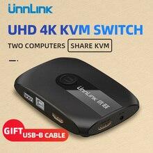 Unnlink 2 порта HDMI KVM переключатель UHD4K@ 30 Гц 1080P@ 60 Гц USB2.0 общий монитор принтер клавиатура мышь для 2 компьютеров ноутбуки ps4