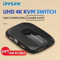 Unnlink 2 Porte HDMI Switch KVM UHD4K @ 30Hz 1080P @ 60Hz USB2.0 Condivisione Monitor Stampante Tastiera Mouse per 2 computer portatili ps4