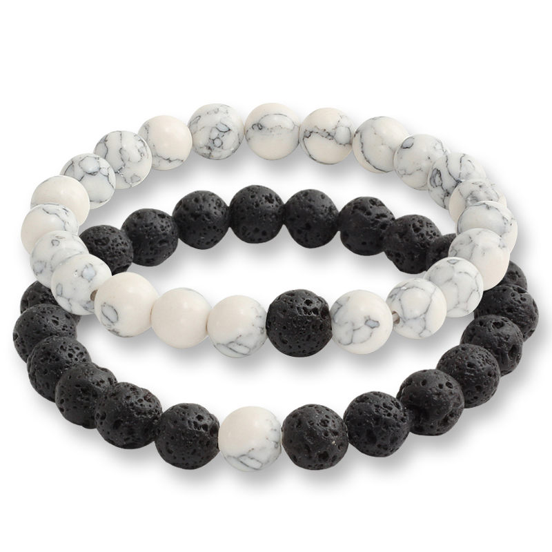 2 Pcs/set Fashion Couple Tiger Eye Stone Bracelets Bangles Classic Black White Natural Lava Stones Charm Bead Bracelet Women Men