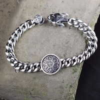 Thai Silver Ethnic Mantra 925 Sterling Silver Bracelet&Bangle For Men Indonesian Ethnic Style Bracelet Fine Jewelry