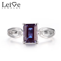 Leige Jewelry Unique Engagement Rings Alexandrite Rings June Birthstone 925 Sterling Silver Emerald Cut Gemstone Rings for Lady