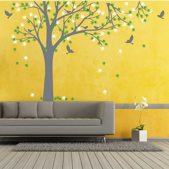 Large Family Tree Decal with Birds Wall Sticker Maple Tree Wall ...