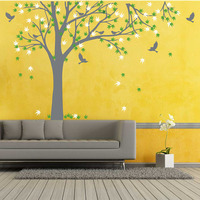 Large Family Tree Decal with Birds Wall Sticker Maple Tree Wall Decals Removable Vinyl Maple Tree Sticker Tree Wall Decor 709T