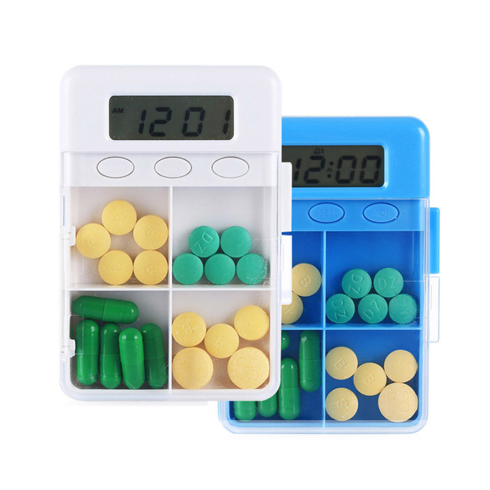 Hot Sale And 2017 4 Grid Food Grade Intelligent Time Reminder Pill Box Portable Organizer Storage Case XH8Z