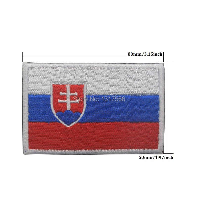 슬로바키아 국기 자수 패치 슬로바키아 수 놓은 패치 군사 전술 완장 패브릭 스티커 봉제 아플리케