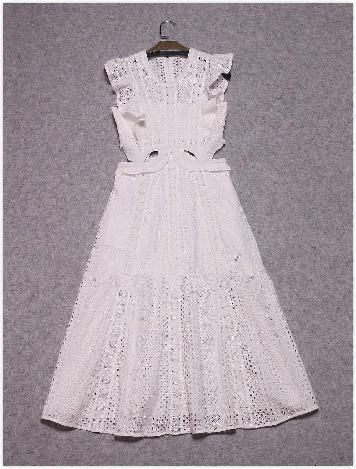 9fb4e190a0339 sexy zomerjurken dame 2017 summer self portrait white Lace long party dress  hollow out ruffle sleeveless A line vestidos brancos