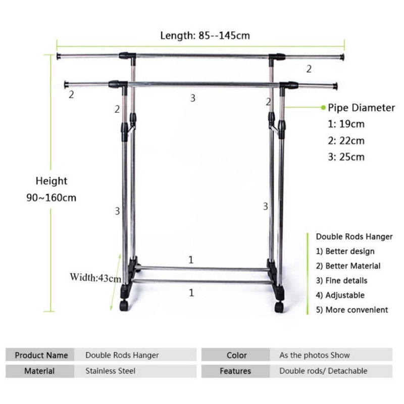 Adjustable Double Garment Rack DIY Clothes Rack Clothes Hanger Movable  Dryer Stand Rolling 4 Wheels Max Load 30 Kg In Drying Racks U0026 Nets From  Home U0026 Garden ...
