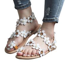 SAGACE letnie artystyczne białe sandały z wzorem w kwiaty damskie płaskie buty sandały damskie w stylu Casual letnia kobieta buty sandały damskie buty tanie tanio Podstawowe Mieszkanie z Otwarta RUBBER Niska (1 cm-3 cm) Na co dzień Hook loop Pasuje prawda na wymiar weź swój normalny rozmiar