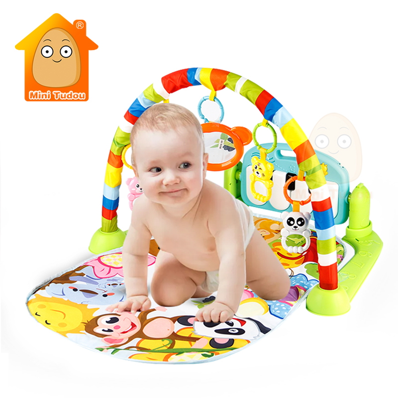 3 in 1 Baby Gym Puzzles Mat Educational Rack Toys Baby Music Play Mat With Piano Keyboard Infant Fitness Carpet Gift For Kids huile toys 2105 baby toys 5 in 1 play gym baby toy play mat