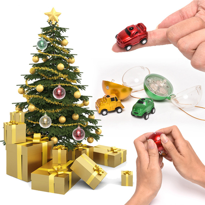 Mini Christmas Ball Remote Control Car Kid Toy Gift 4 Batteries Red/Gold/Green