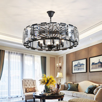American fashion crystal chandelier LED black luxury living room dining room retro decorative lights