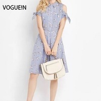 VOGUEIN New Womens Ladies Mùa Hè Sọc Bird In Sexy Cold Shoulder Mini Dress Size SML Bán Buôn