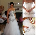 Luxury White Wedding Dresses Tulle with Beads Off the Shoulder Sweetheart Mermaid Bridal Gown Handmade Bandage Wedding Gowns