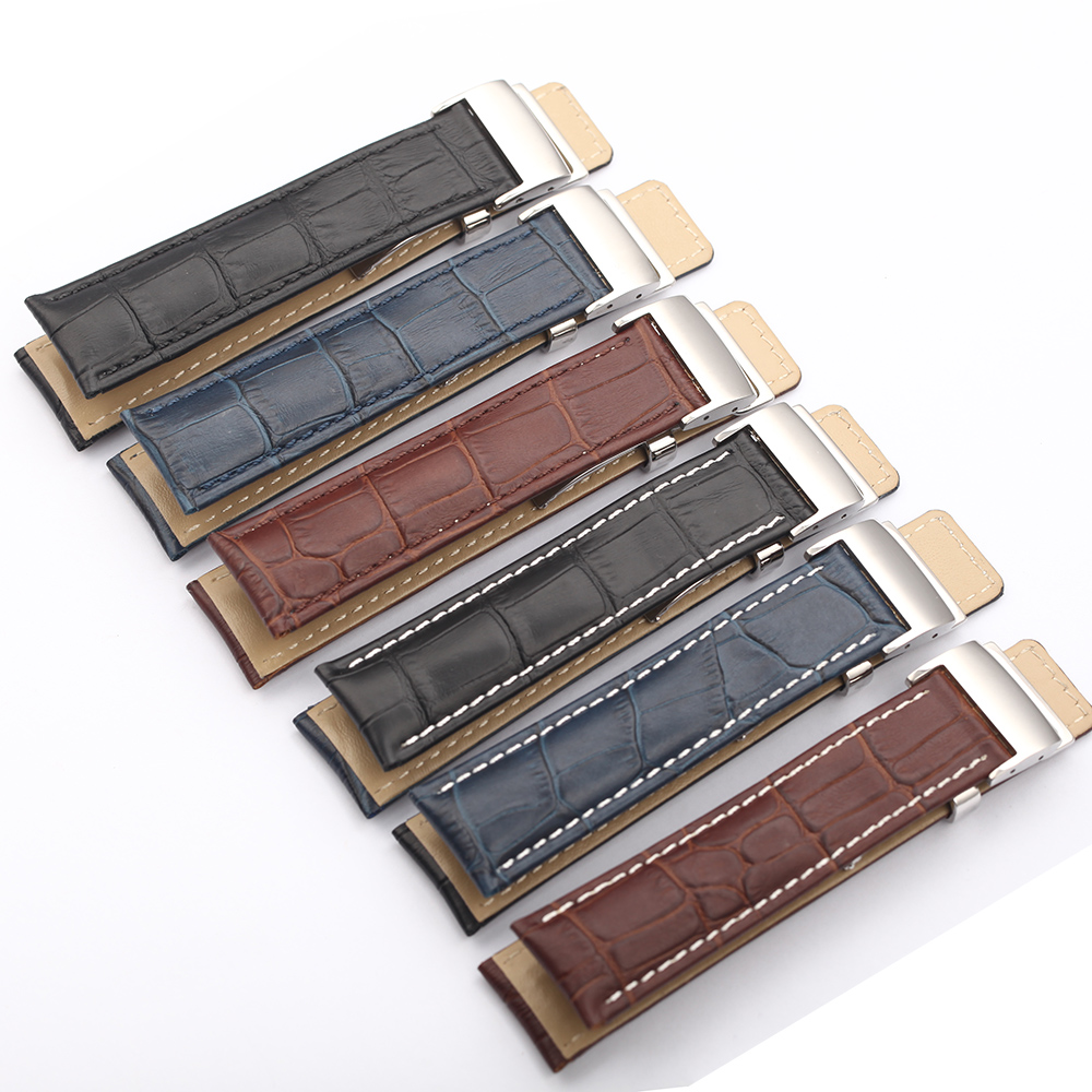 High Quality Watch Accessories Watch Belt 20mm <font><b>24mm</b></font> Brown Black Brown Genuine Leather Watch Band for <font><b>Breitling</b></font> Watch <font><b>Strap</b></font> image