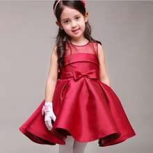 Новинка 2017 платья для девочек с цветами и бантом атласное